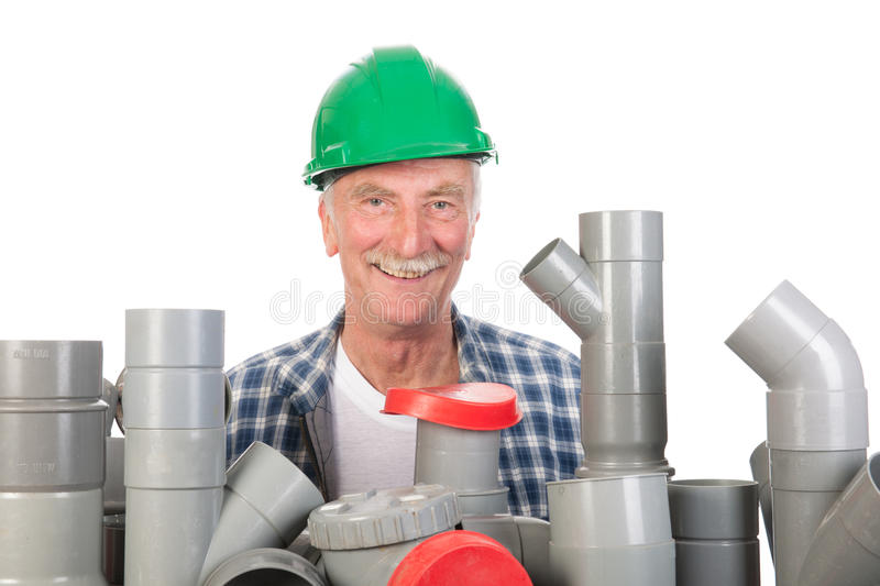Download Confused funny plumber stock photo. Image of construction - 33487324