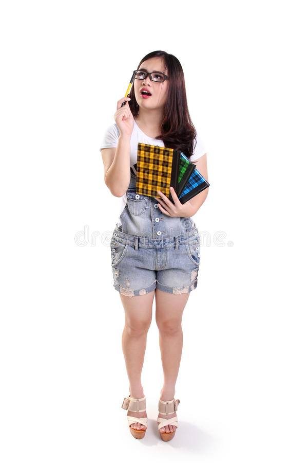 Confused geeky girl, full body isolated stock photography