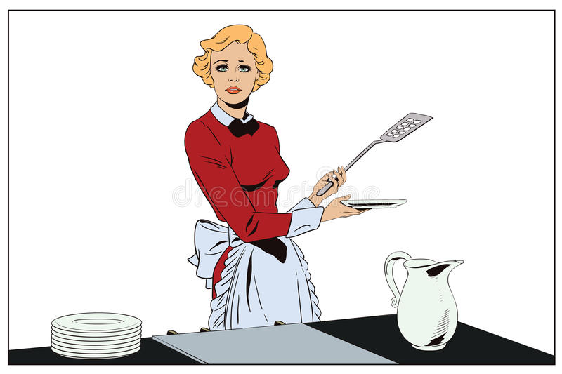 A Kitchen With Vintage Character: Confused Girl In The Kitchen. People In Retro Style. Stock