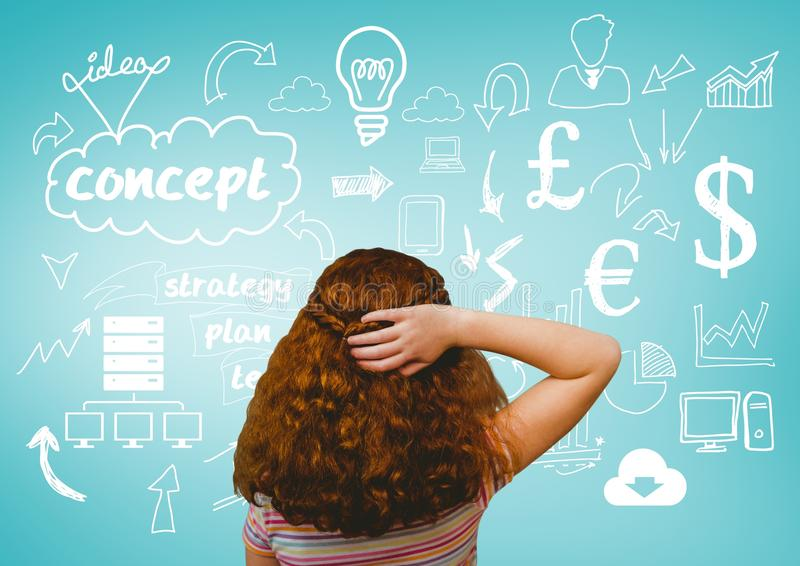 Confused girl looking at icons royalty free stock photography