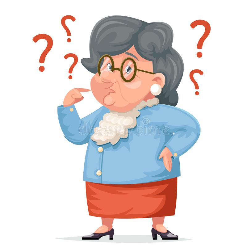 Confused grandmother memory loss old demencia age problems alzheimer woman granny character adult icon cartoon design royalty free illustration