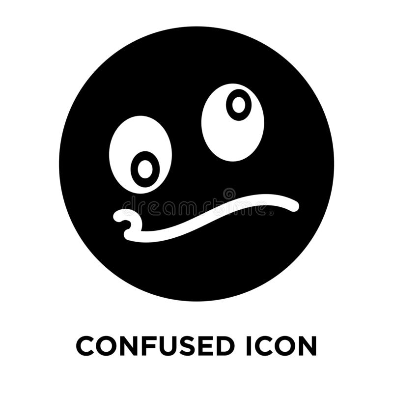 Confused icon vector isolated on white background, logo concept stock illustration