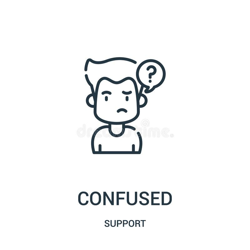 confused icon vector from support collection. Thin line confused outline icon vector illustration. Linear symbol for use on web royalty free illustration