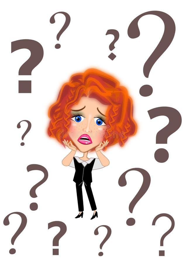 confused kvinna f?r aff?r stock illustrationer