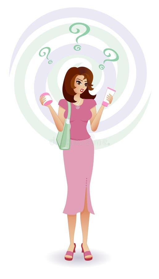 confused kvinnor för konsumentskönhetsmedel s stock illustrationer