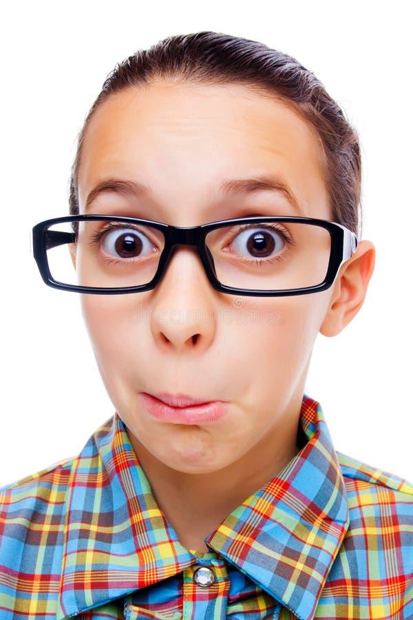confused liten nerd arkivfoto