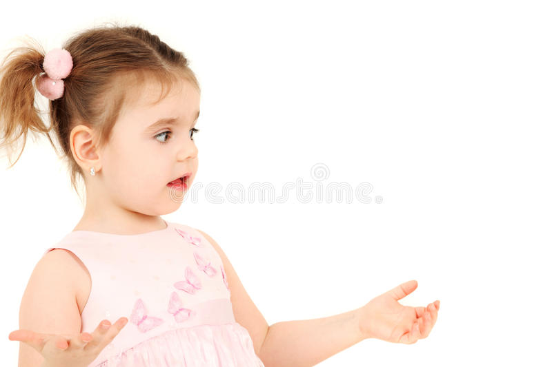 Confused little girl stock image