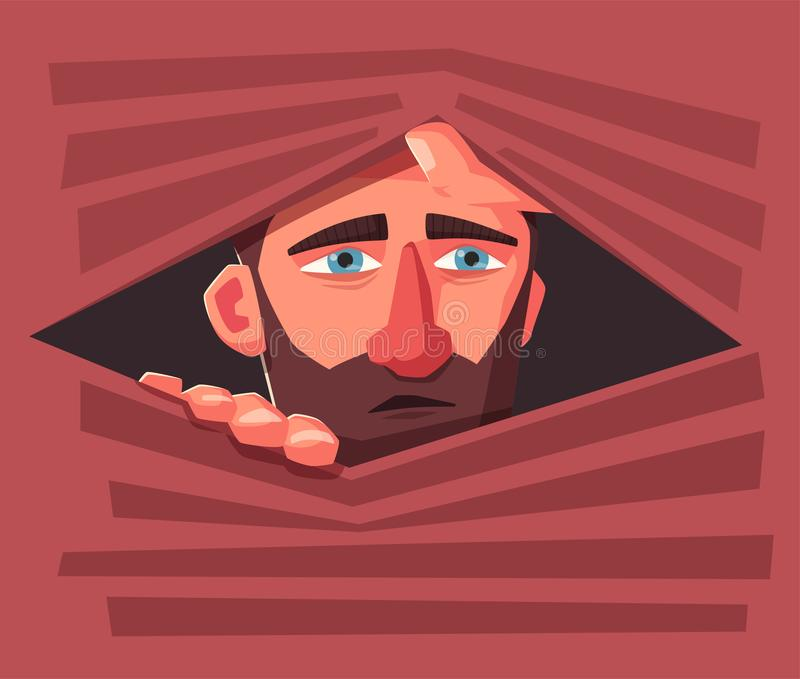 Confused man hide. Frightened person. Character design. Cartoon vector illustration royalty free illustration