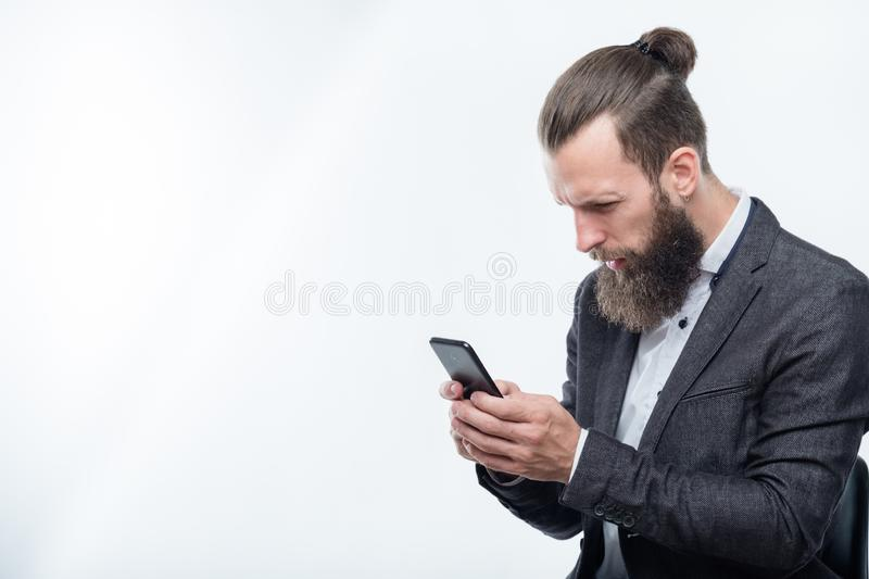 Confused man reading phone bad news shock network royalty free stock image