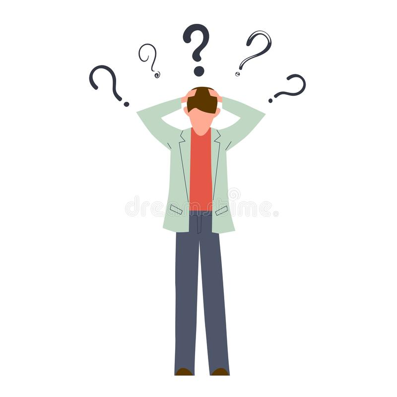 Confused man. Young serious creative person think about doubt troubled question vector concept royalty free illustration