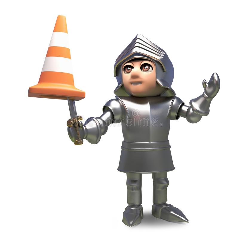 Confused medieval knight has a traffic cone stuck on the end of his sword, 3d illustration. Render stock illustration