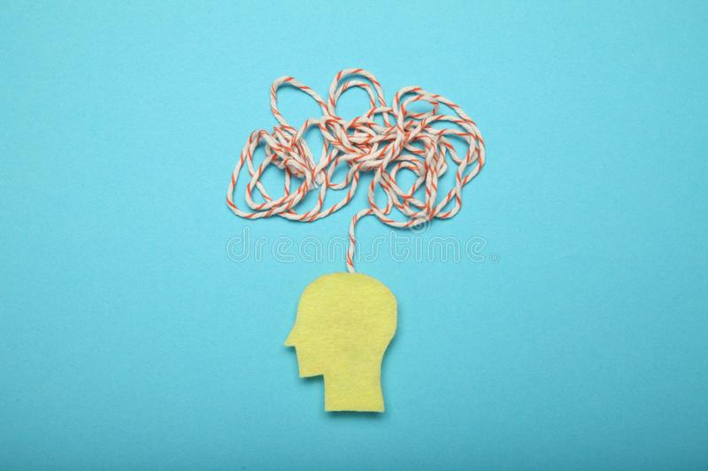 Confused memory, remember mind. Puzzled chaos. Person amnesia.  stock photos