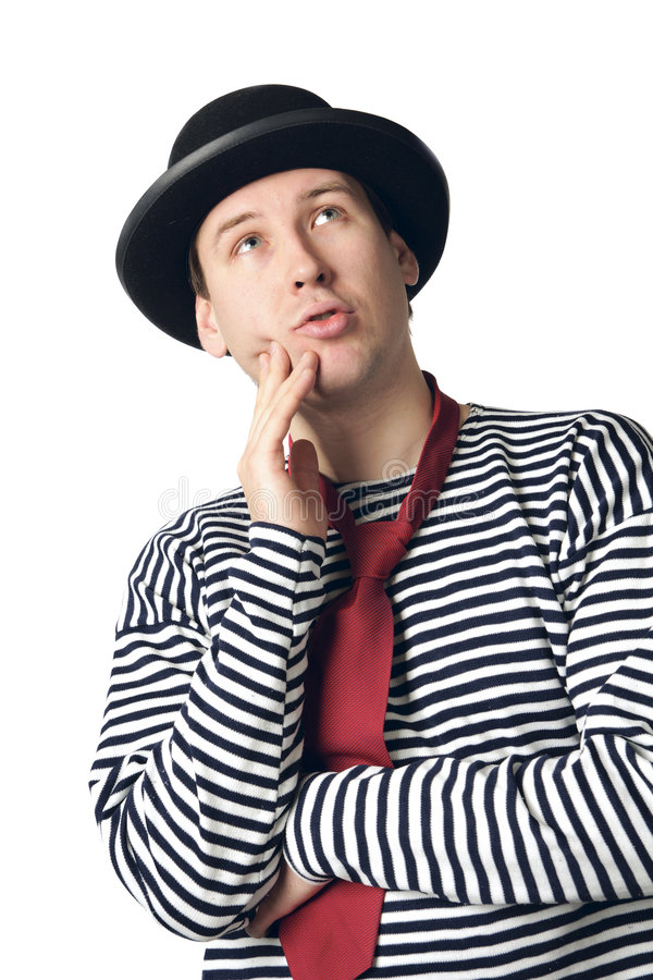 Confused mime. Isolated on light background royalty free stock photography