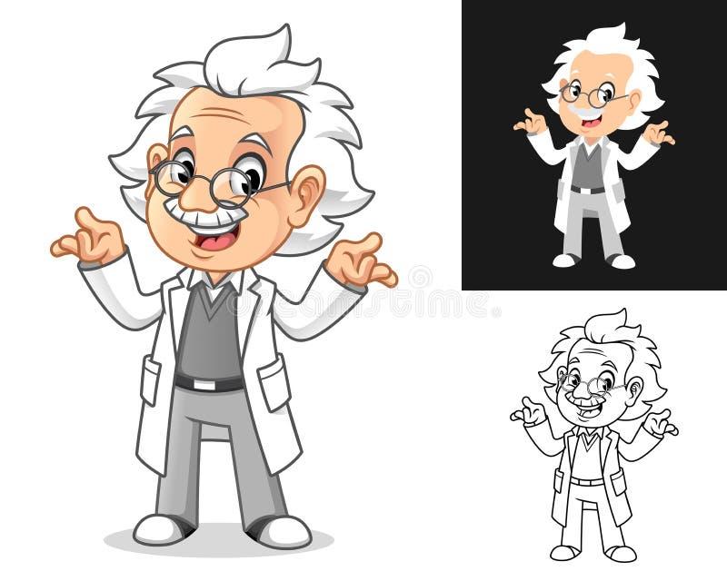 Professor with Shrug Gesture vector illustration