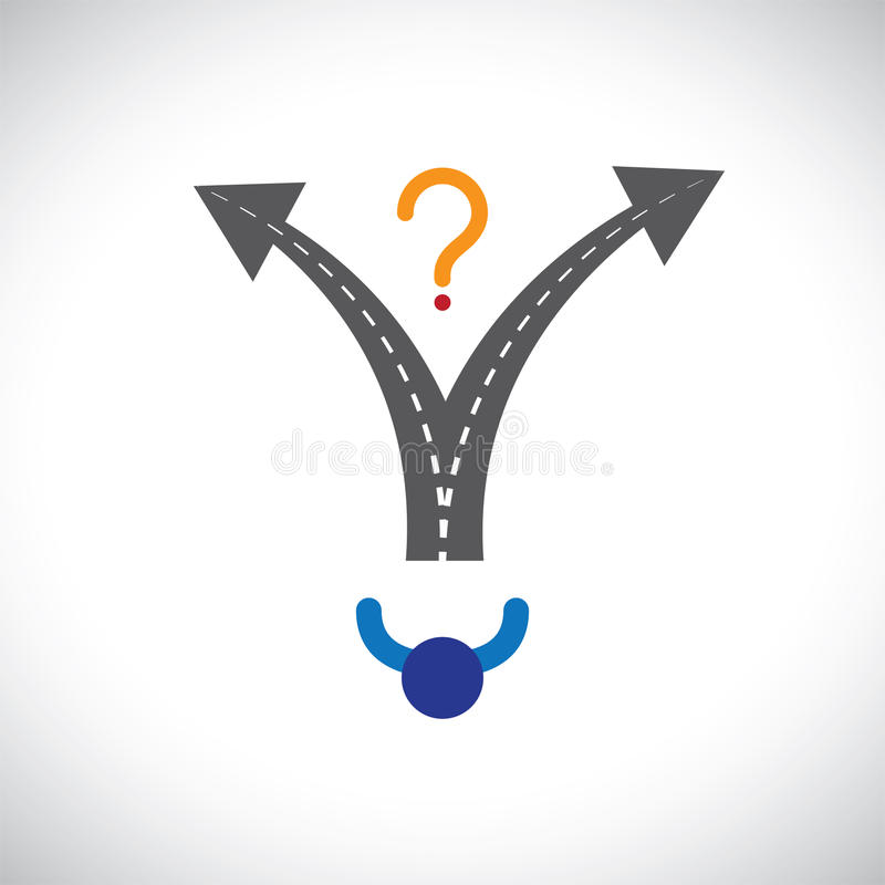 Confused person career choice decision making difficulty graphic. The illustration also represents decision making problems when many options are present in royalty free illustration