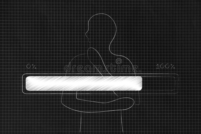 Confused person collecting his thoughts and progress bar loading on top vector illustration