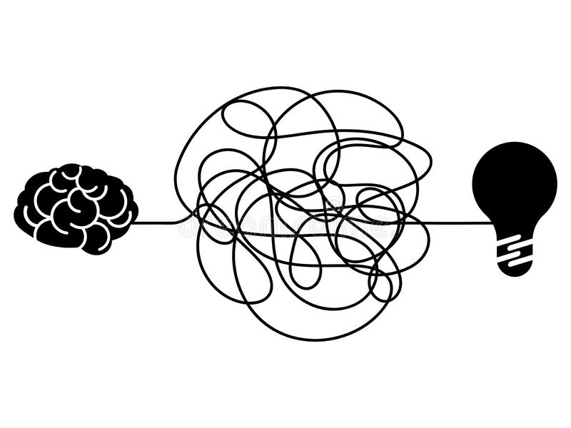Confused process, chaos line symbol. Tangled scribble idea, insane brain vector concept royalty free illustration