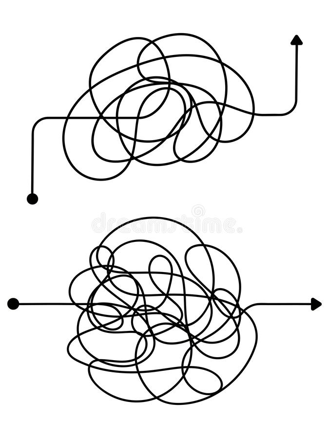 Confused process, chaos line symbol. Tangled scribble idea vector concept royalty free illustration
