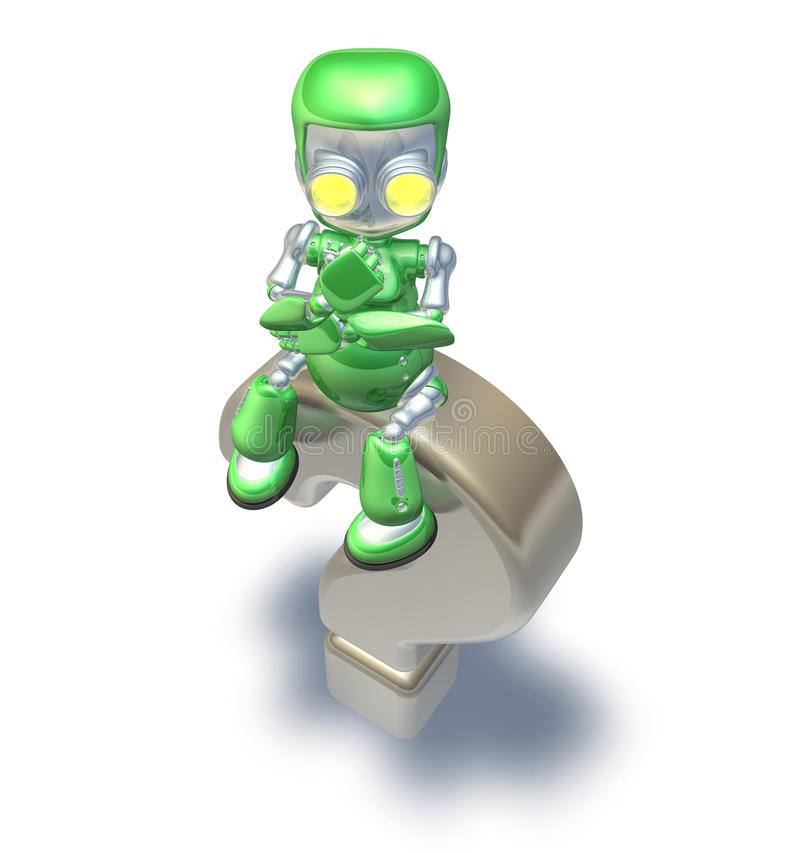 Confused Question Mark Cute Green Metal Robot stock illustration