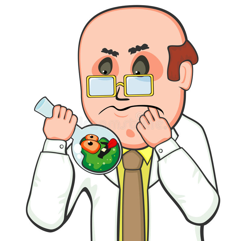 Download Confused Scientist And Germ Stock Vector - Illustration of contamination, overall: 28863472