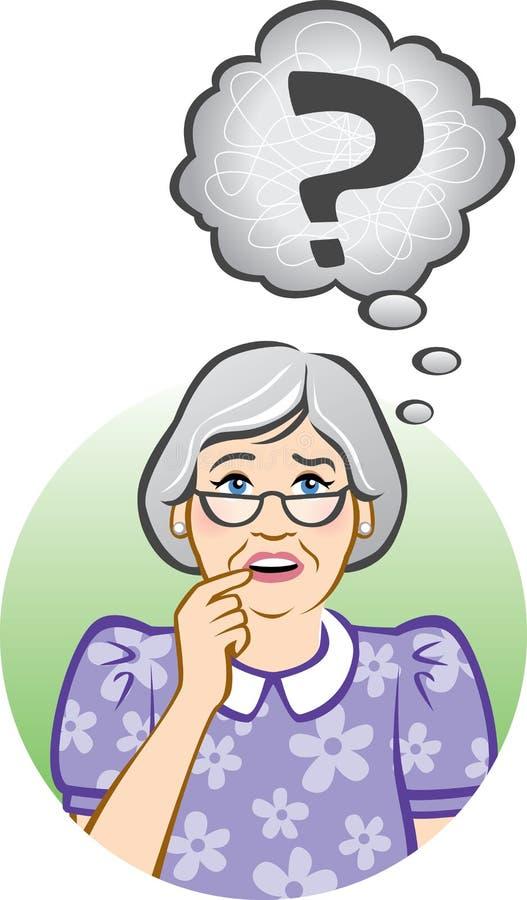 Confused Senior Woman stock illustration