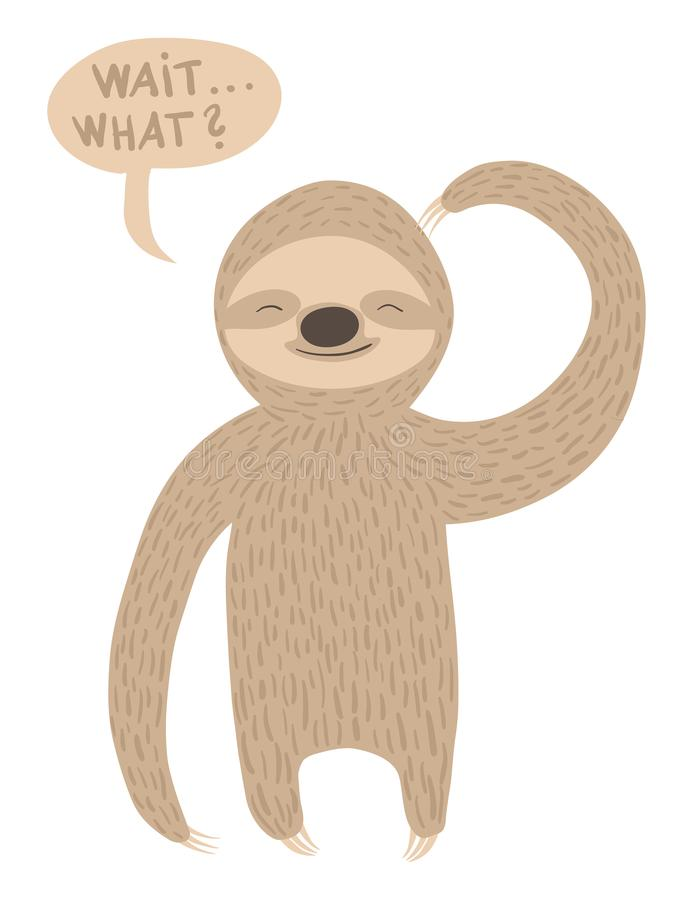 Confused sloth illustration with text balloon vector illustration