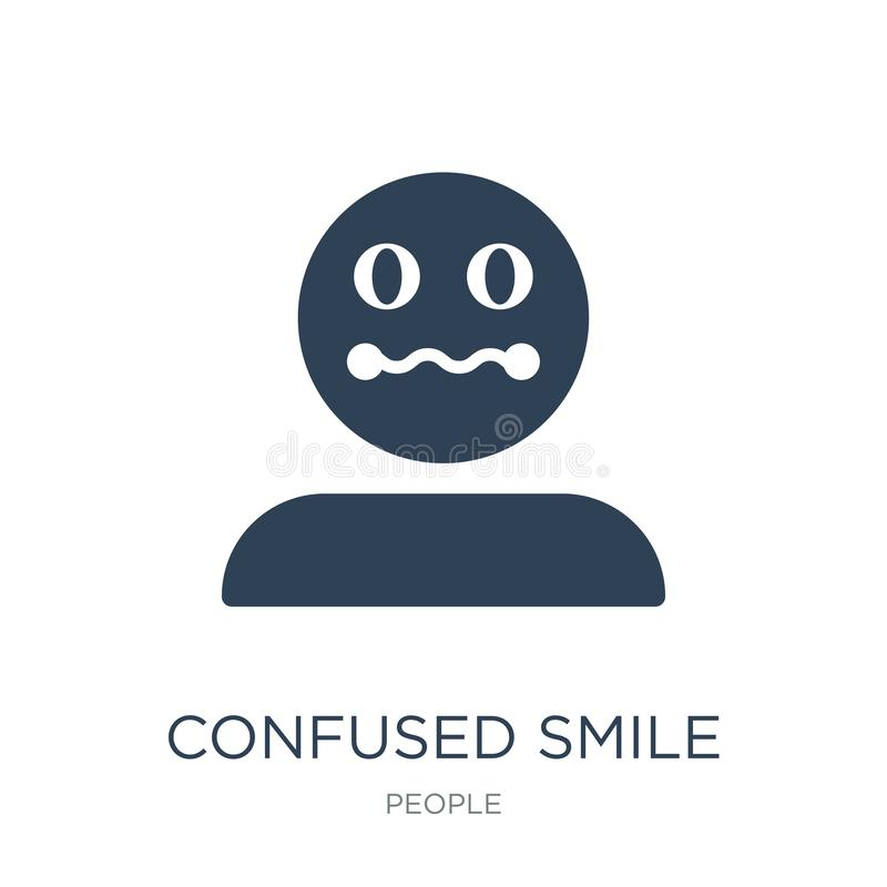 Confused smile icon in trendy design style. confused smile icon isolated on white background. confused smile vector icon simple. And modern flat symbol for web royalty free illustration