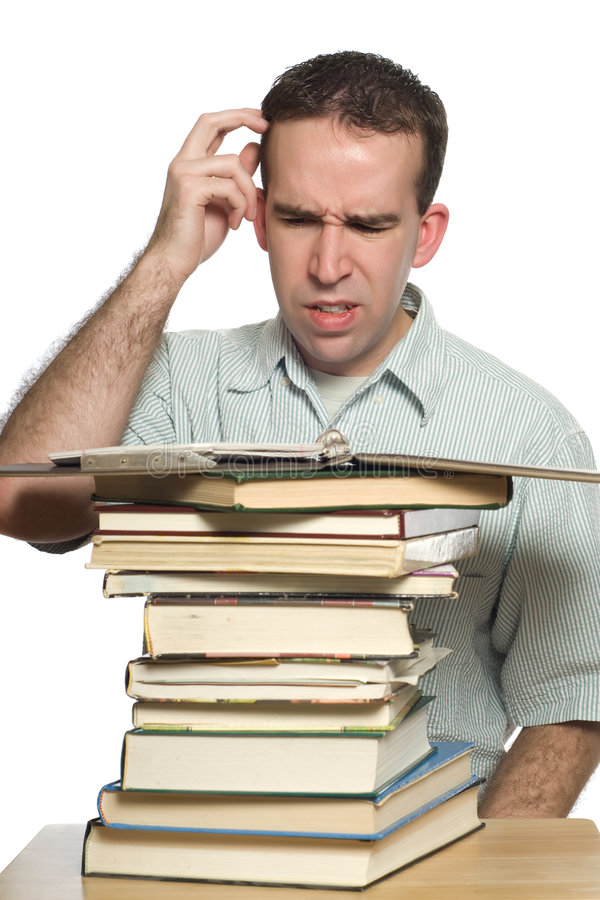 Download Confused Student stock image. Image of research, pile - 8592503