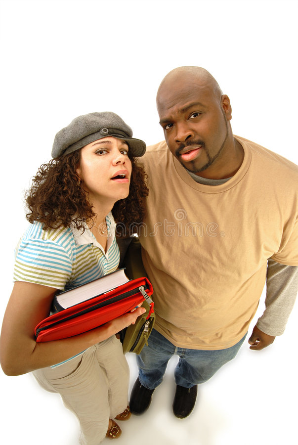 Confused students stock photography