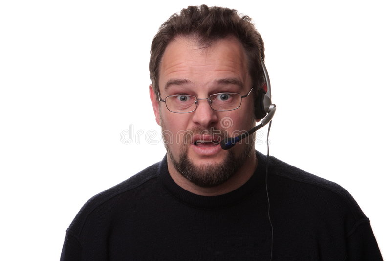 confused or surprised male call taker stock image image