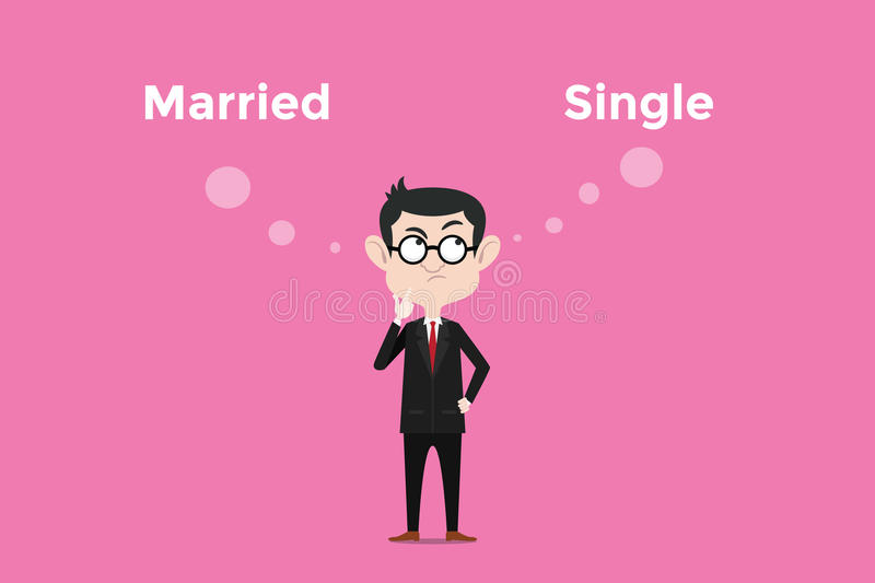 Confused to decide for being married vs single and comparing about its benefits illustration. Vector vector illustration