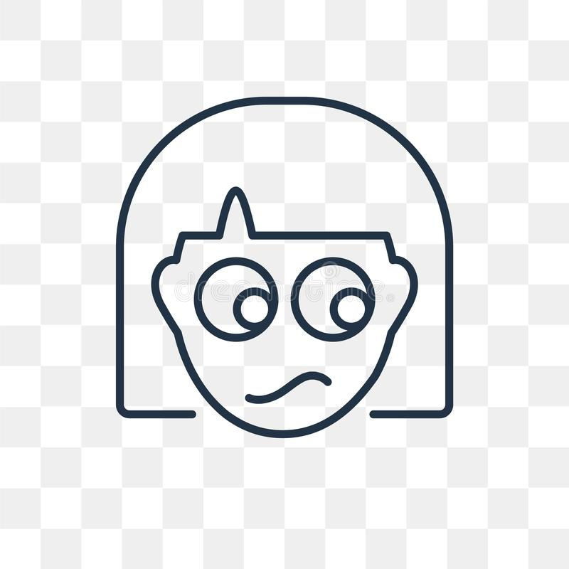 Confused vector icon isolated on transparent background, linear royalty free illustration
