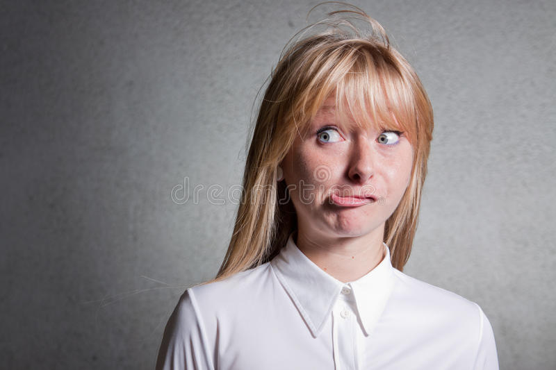Confused woman - help! stock photography