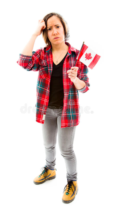 Download Confused Woman With Holding Canada Flag Stock Image - Image of white, front: 41945381