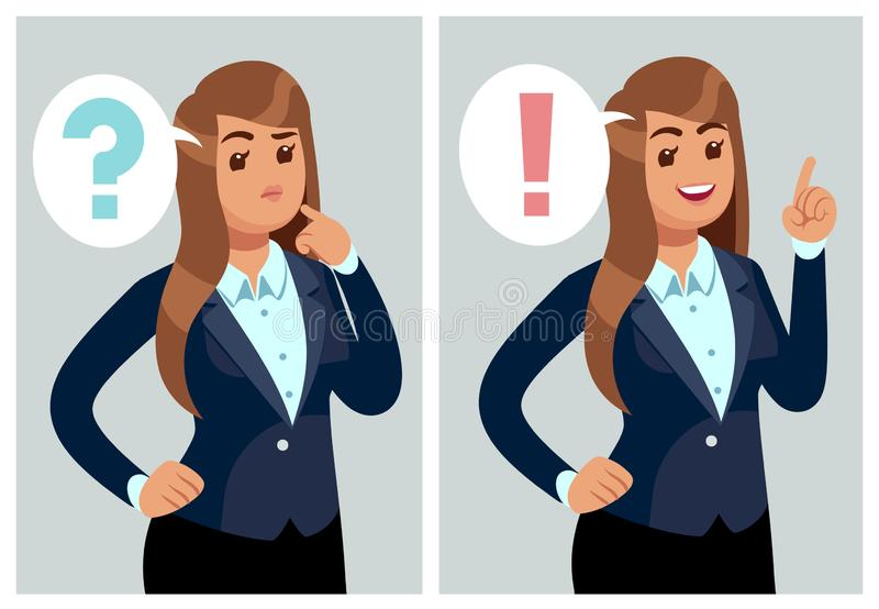 Confused woman. Young thinking girl, student with problem and find solution. Worried businesswoman in doubt and dilemma stock illustration
