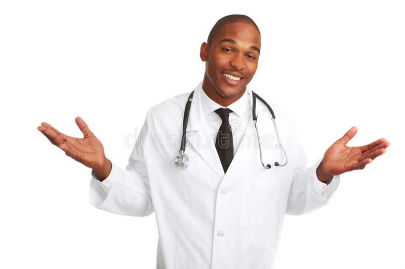 Confused Young African-American Doctor stock images