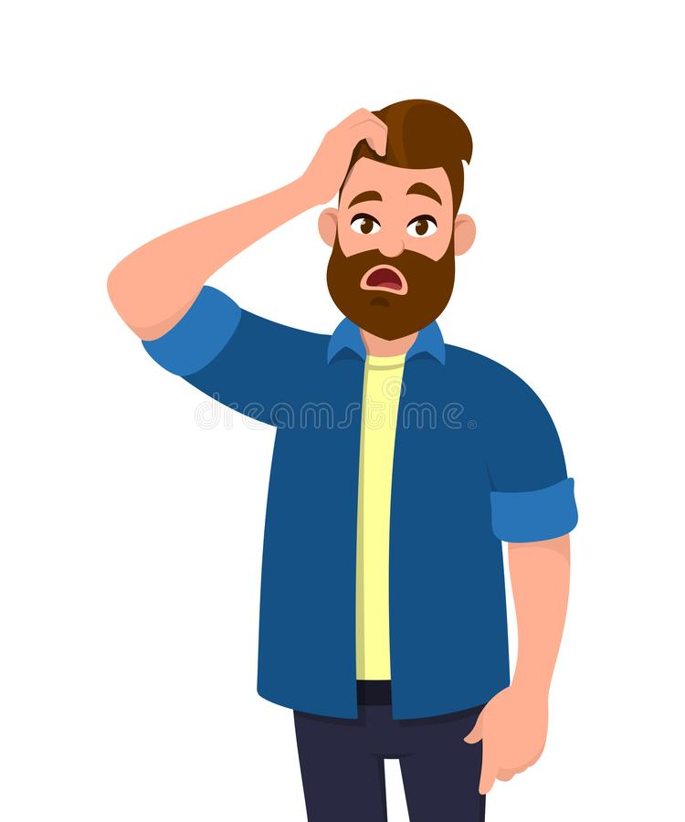Confused young man scratching his head. Doubt, question, problem. Human emotion and body language concept illustration in vector. vector illustration