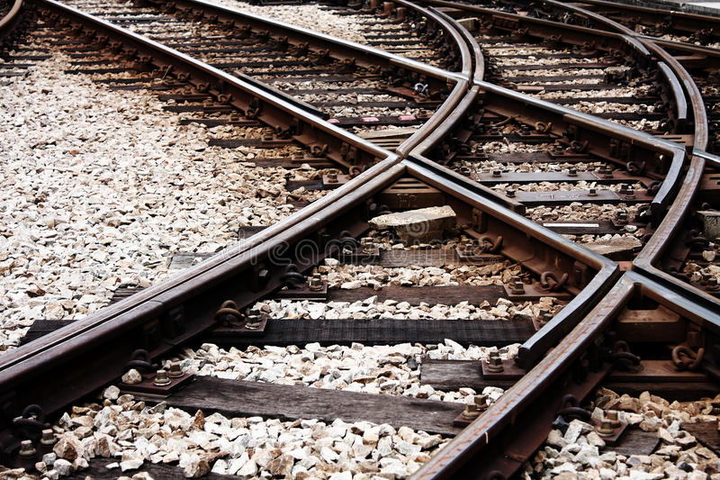 Download Confusing railway tracks stock photo. Image of night - 16410342