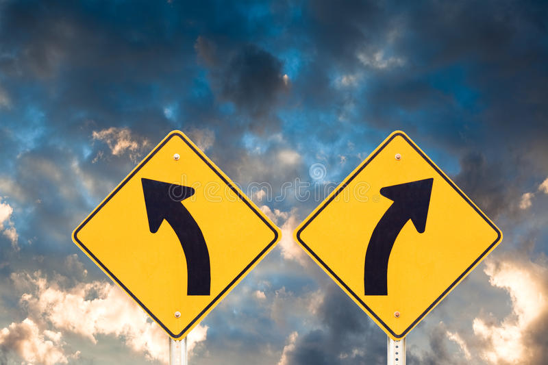 Confusing road signs royalty free stock image