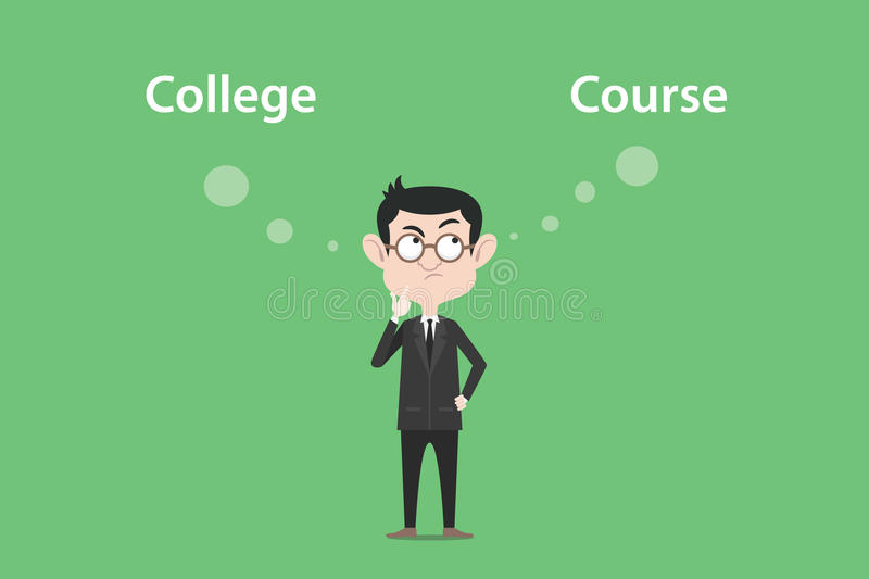 Confusing to make a decision for going to college or course illustration with a white bubble text royalty free illustration