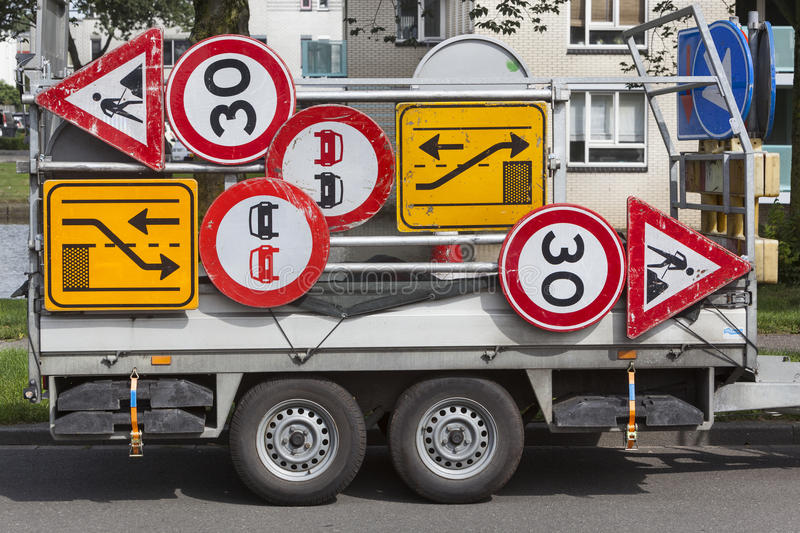 Confusing traffic signs on a trailer royalty free stock images