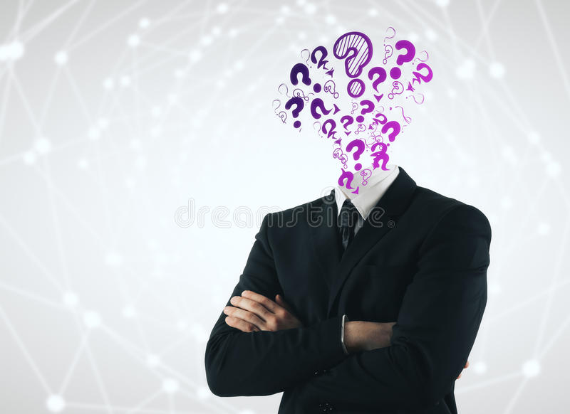 Confusion cocnept. Question mark headed businessman with folded arms on light polygonal background. Confusion concept royalty free stock photos