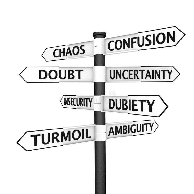 Confusion signpost stock illustration