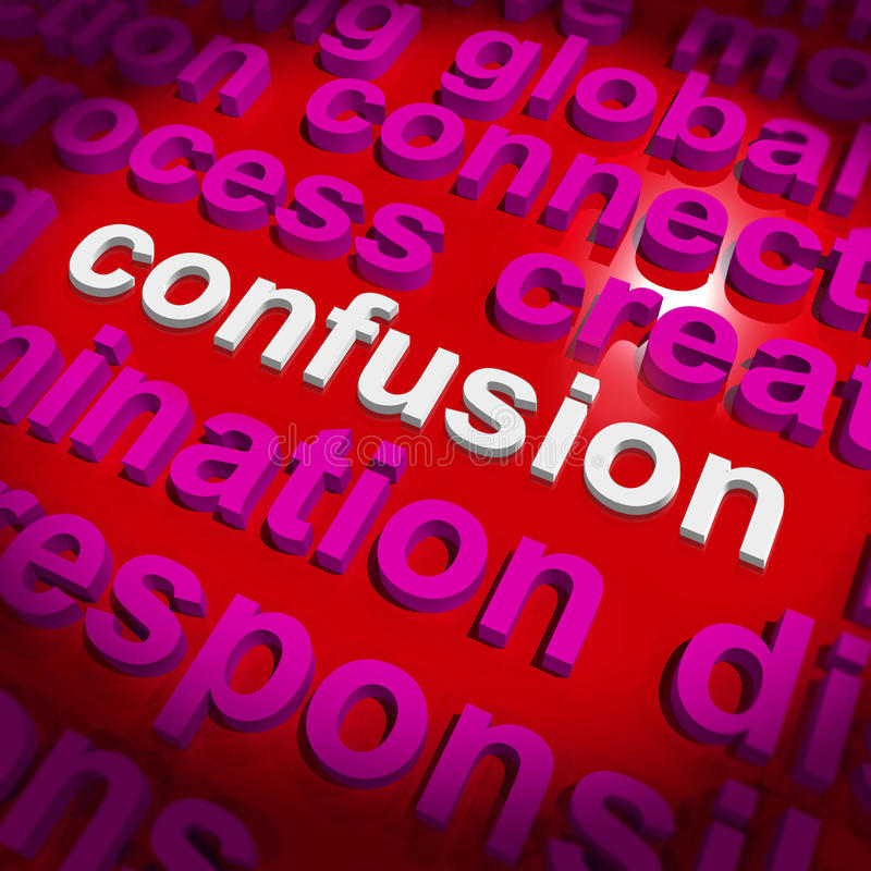 Confusion Word Cloud Means Confusing Confused Dilemma Stock Images