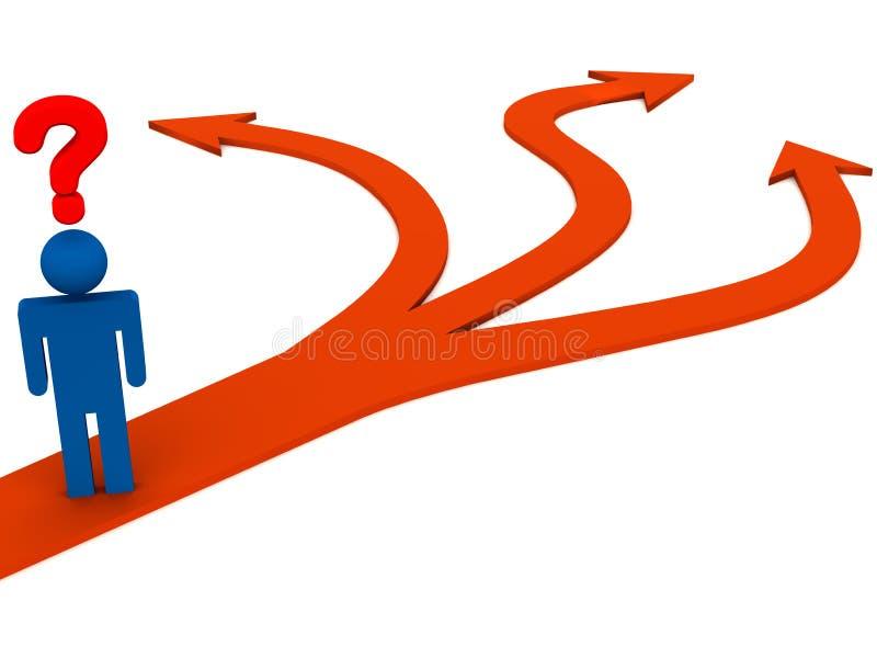 Confusione del percorso da seguire illustrazione vettoriale