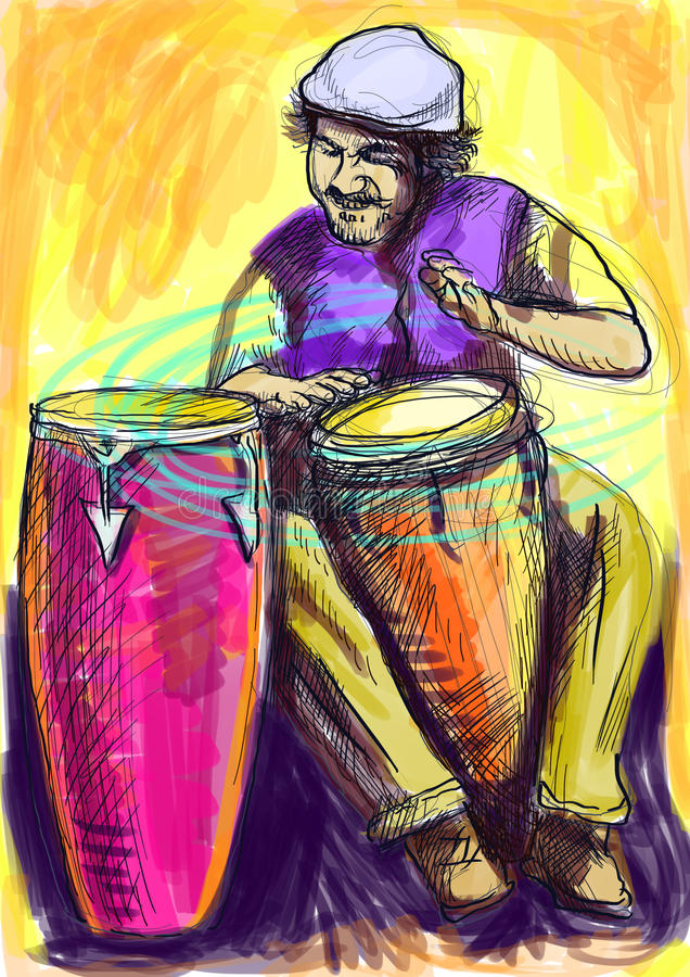 Conga player. Afro-Caribbean rhythms from passionate drummer. A hand drawn illustration of an excellent drummer royalty free illustration