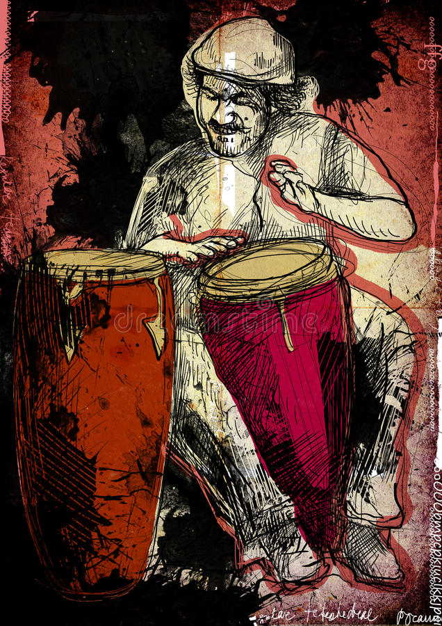 Conga player. Afro-Caribbean rhythms from passionate drummer. A hand drawn illustration of an excellent drummer stock illustration