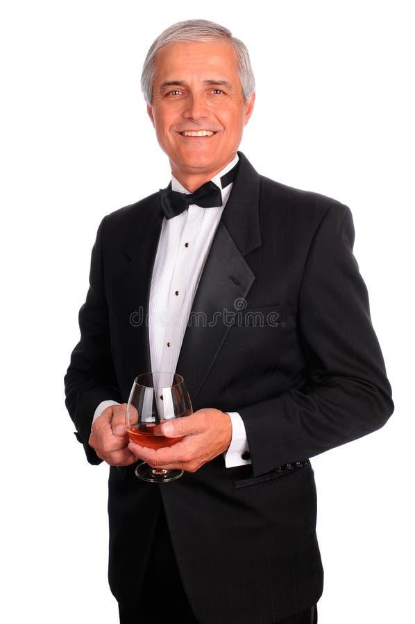 congac szklany mężczyzna smoking zdjęcie royalty free