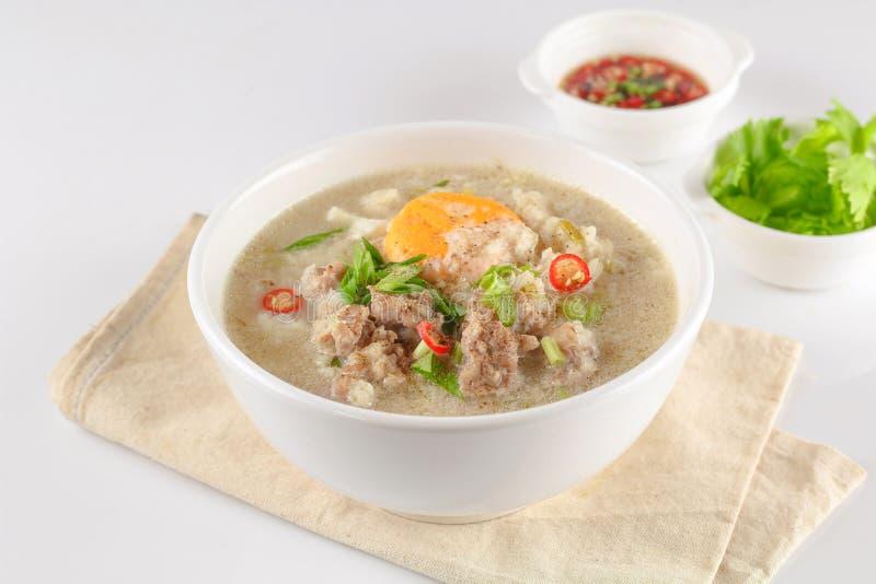 Congee με το κομματιασμένο χοιρινό κρέας στοκ φωτογραφία με δικαίωμα ελεύθερης χρήσης