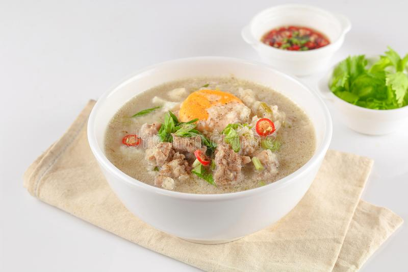 Congee with minced pork royalty free stock photo